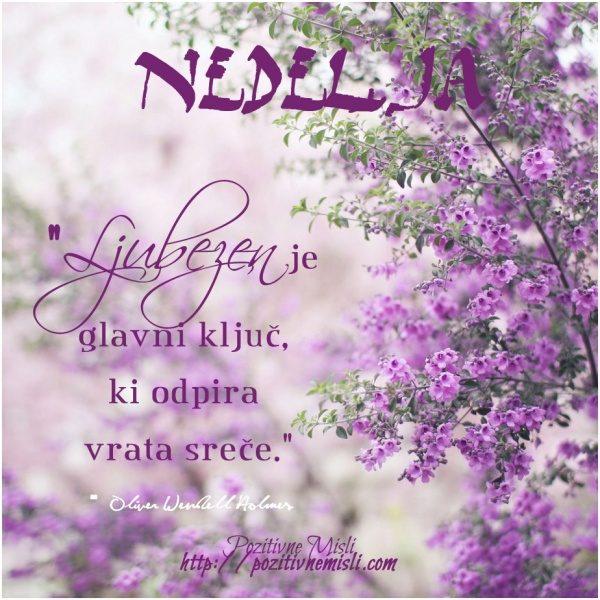 NEDELJA - Ljubezen je glavni ključ, ki odpira vrata sreče   Oliver Wendell Holm