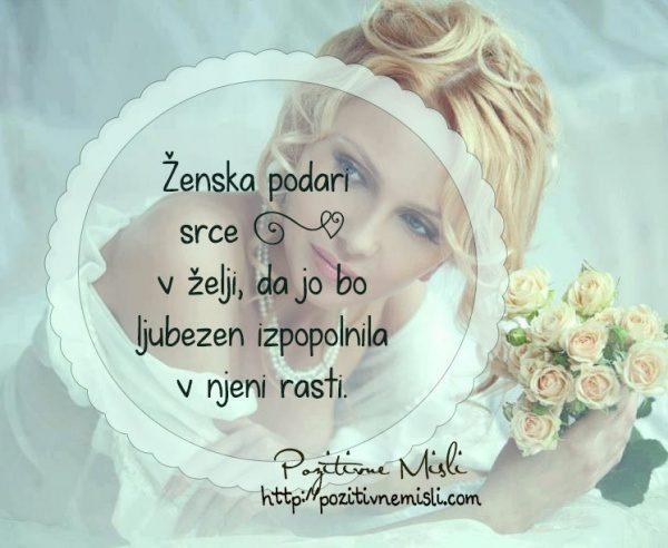 Ženska podari srce  v želji, da jo bo ljubezen izpopolnila v njeni rasti ...