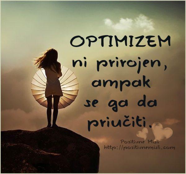 Optimizem ni prirojen ampak se ga da priučiti
