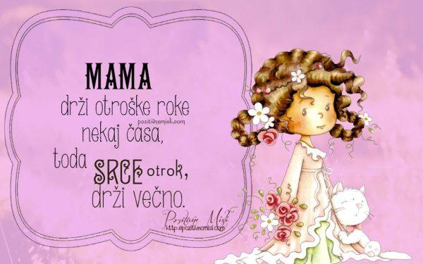 MAMA drži otroške roke nekaj časa - misli za mamo