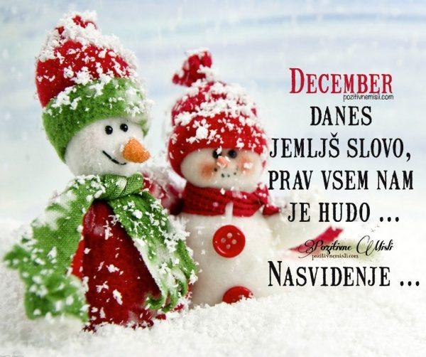 December danes jemljš slovo, prav vsem nam je hudo
