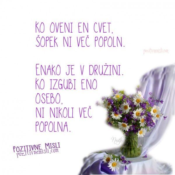 Ko oveni en cvet, šopek ni več popoln.  Enako je v družini. Ko izgubi osebo