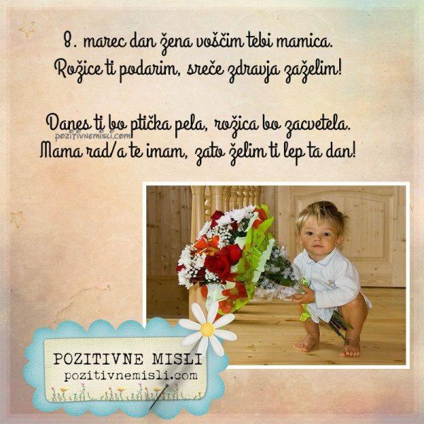 8. marec dan žena voščim tebi mamica. Rožice ti podarim, sreče zdravja ...