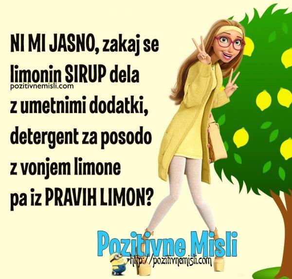 Zakaj se limonin sirup dela z umetnimi dodatki, detergent za posodo ...