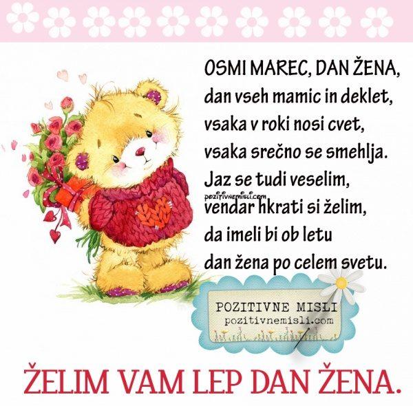 Osmi marec, dan žena, dan vseh mamic in deklet, vsaka v roki nosi cvet, vsaka s
