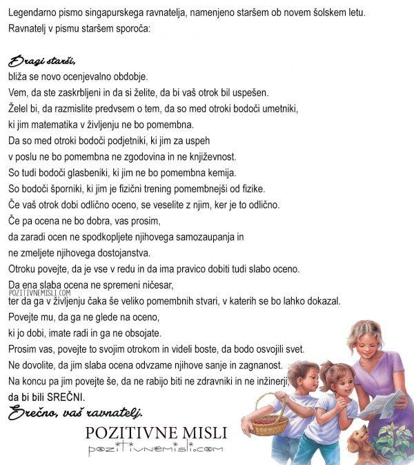 Pismo ravnatelja, namenjeno staršem ob novem šolskem letu