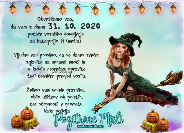 Noča čarovnic 2020 - zabavne msili