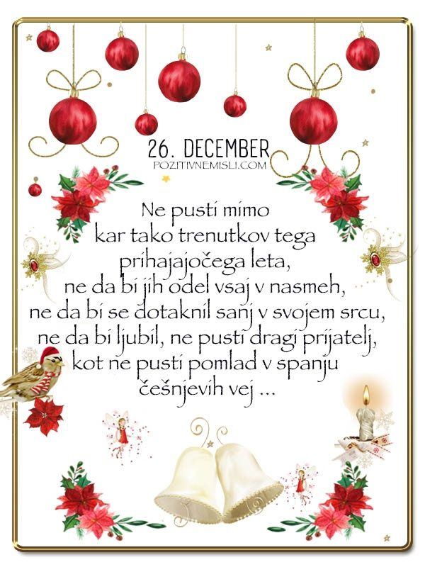 26. DECEMBER - Adventni koledar lepih misli in želja -