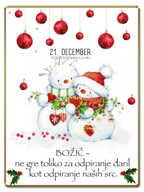 21. DECEMBER  - Adventni koledar lepih misli in želja -