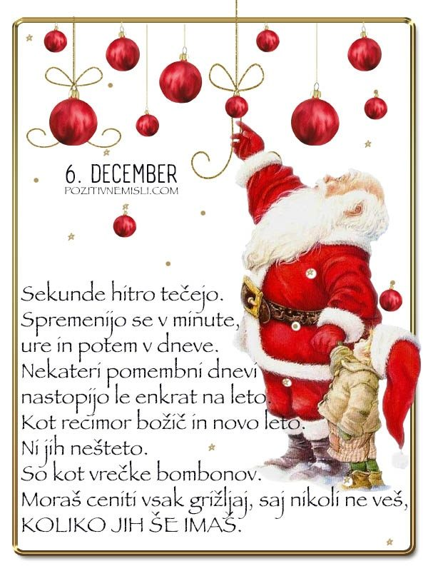 6. DECEMBER - Adventni koledar lepih misli in želja