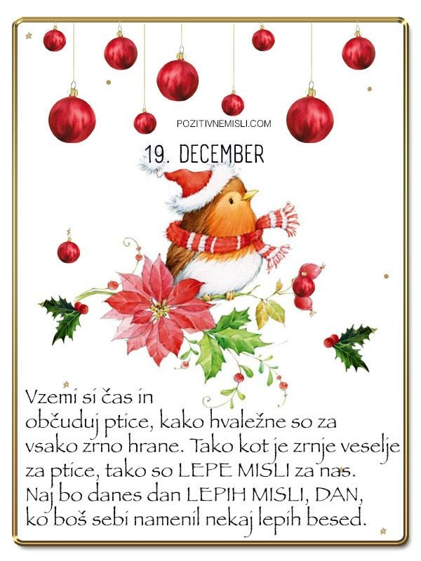19. DECEMBER - - Adventni koledar lepih misli in želja -