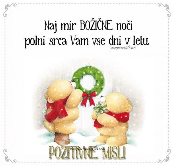 Naj mir božične noči polni srca Vam vse dni v letu