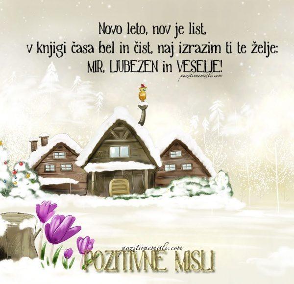 Novo leto, nov je list,  v knjigi časa bel in čist ...