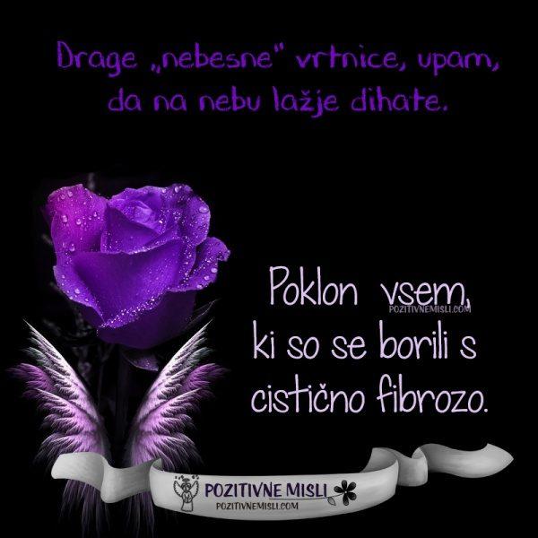 Drage nebesne vrtnice, upam,  da na nebu lažje dihate