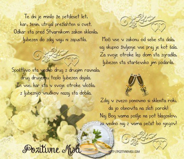 Zlata  poroka 50 let poroke obletnica