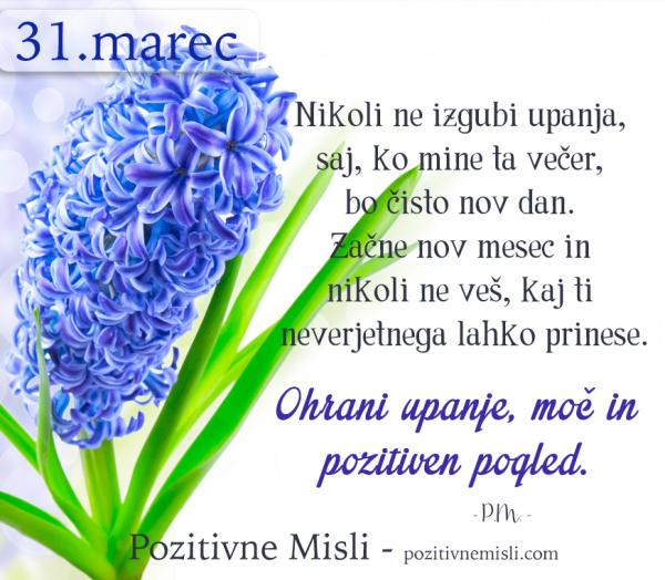 31. MAREC - 365 modrih misli - Nikoli ne izgubi upanja
