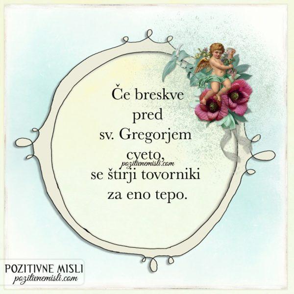 GREGORJEVO - Če breskve pred sv. Gregorjem