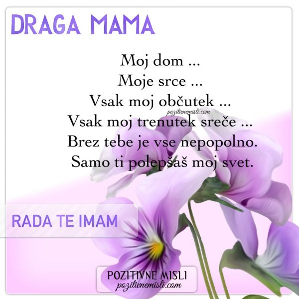 VERZI ZA MATERINSKI DAN - Draga mama