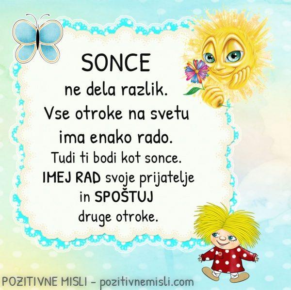 Pozitivne misli za otroke - Sončna misel