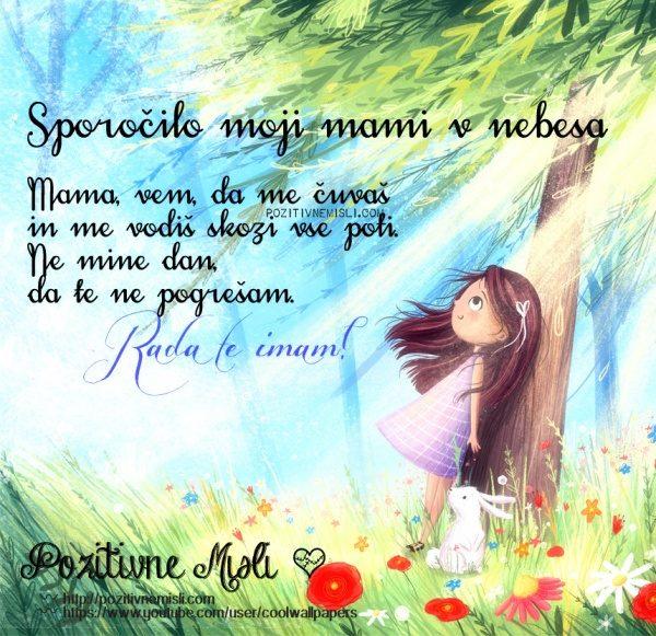 Sporočilo moji mami v nebesa