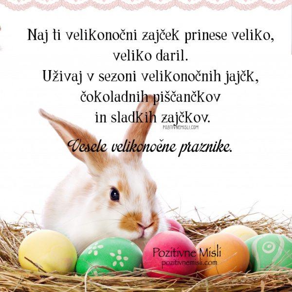 Zajec velika noč darila čikoladna jajčka