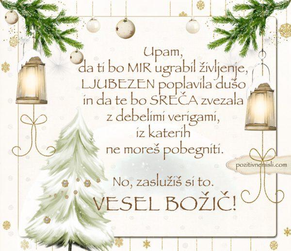 Čarobni božič - Lepi božični verzi - Upam, da ti bo mir