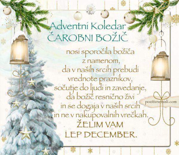 ADVENTNI KOLEDAR - ČAROBNI božič nosi praznično sporočilo