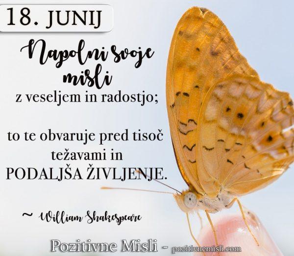 18. junij - Napolni svoje  misli  z veseljem in radostjo ...