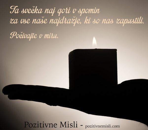 Svečka v spomin na naše najdražje -žalne misli