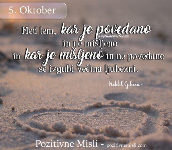 5. oktober - Med tem, kar je povedano
