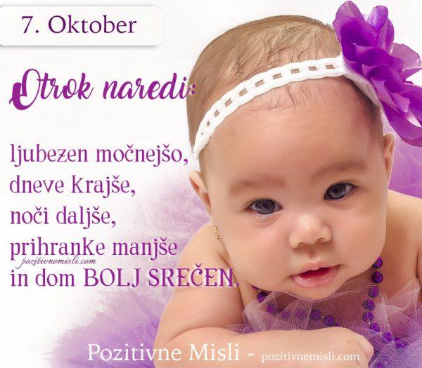 7. OKTOBER - Otrok naredi -  ljubezen močnejšo