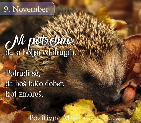 9. november - Ni potrebno, da si boljši od drugih ...