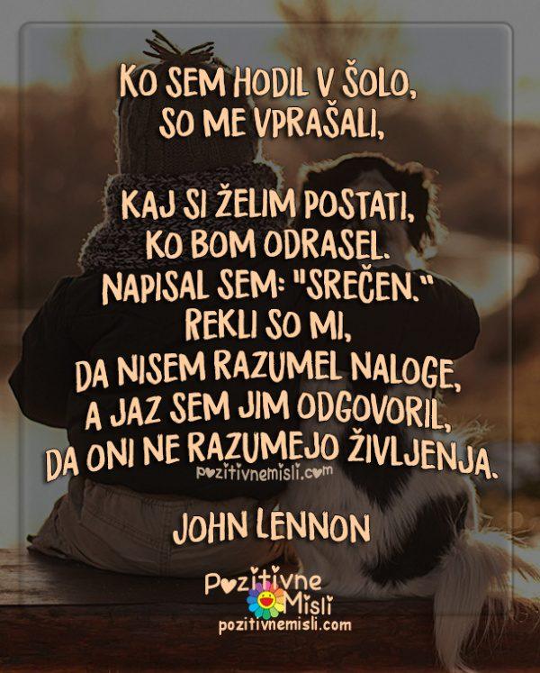 Misli o življenju - Ko sem hodil v šolo - John Lennon