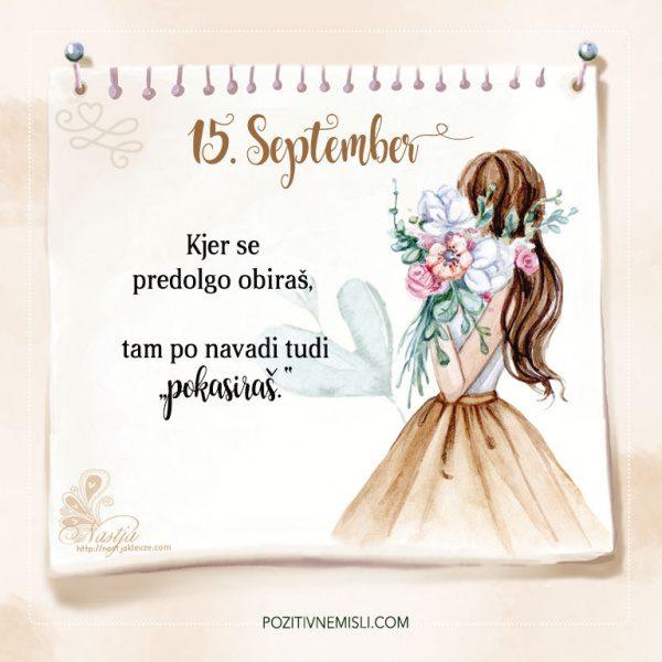 15. September - Pozitivčice - Misel dneva - Nastja Klevže