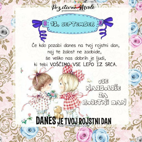 13. september - voščilo za rojstni dan - Pozitivčice
