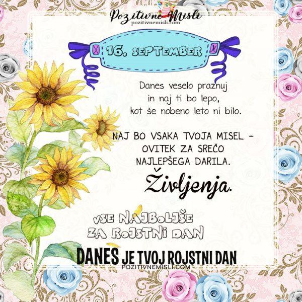 16. september - voščilo za rojstni dan - Pozitivčica