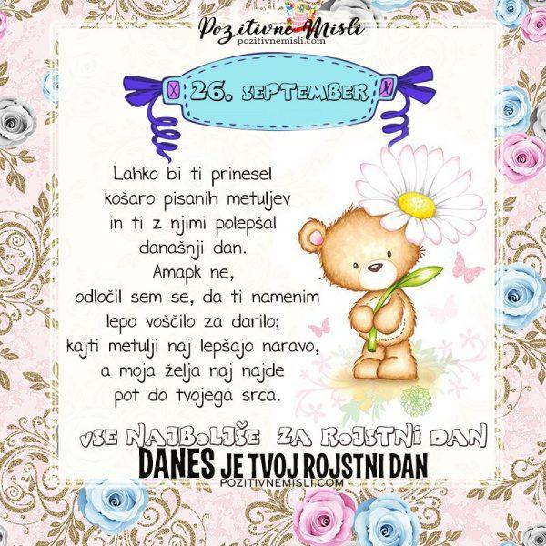 26. september - voščilo za rojstni dan - Pozitivčica