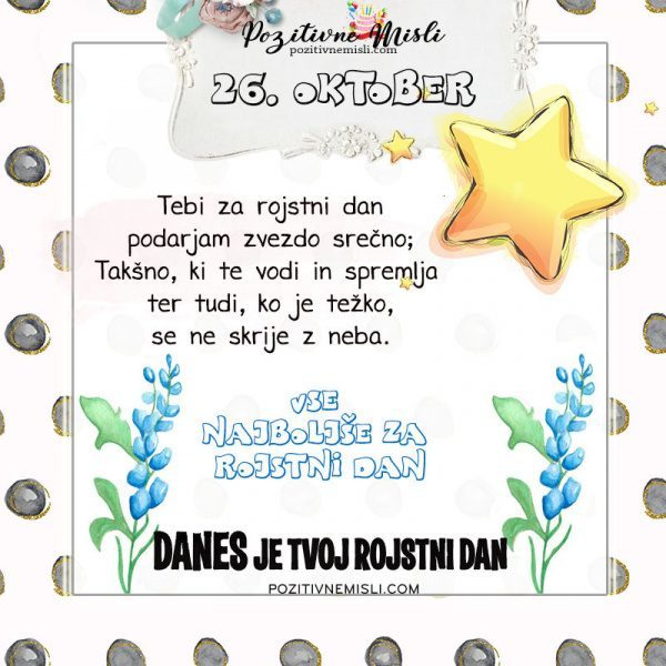 26. oktober - voščilo za rojstni dan - Pozitivčica