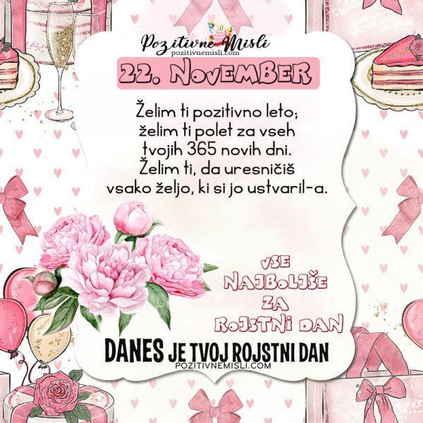 22. november voščilo za rojstni dan - Pozitivčica