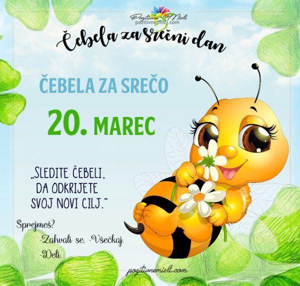 20. marec - 365 srečnih dni - čebela za srečo