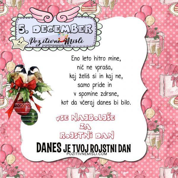 5. december ~ voščilo za rojstni dan ~ Pozitivčica