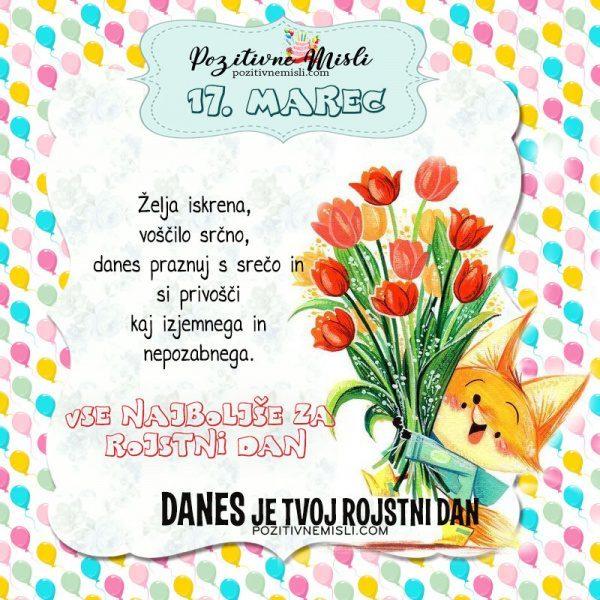 17. marec ~ voščilo za rojstni dan ~ Pozitivčica