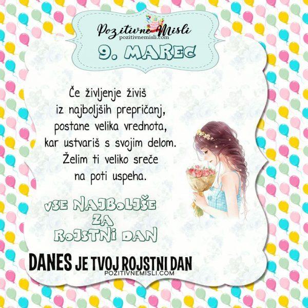 9. marec ~ voščilo za rojstni dan ~ Pozitivčica