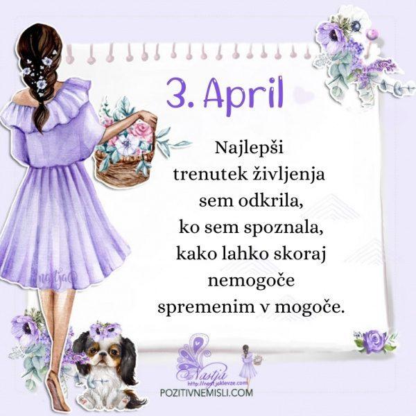 3. april - Pozitivčica za današnji dan - Nastja Klevže