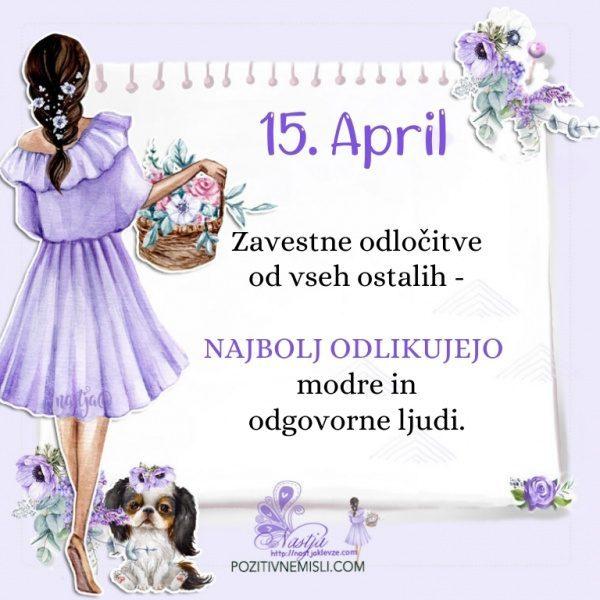 15. april - Pozitivčica za današnji dan