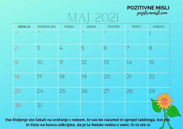 Koledar MAJ 2021 - pozitivne misli  s citati