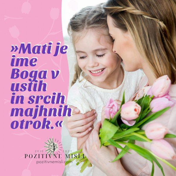 Mati je ime Boga v ustih in srcih majhnih otrok