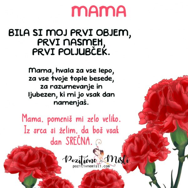 Mami za rojstni dan - MAMA - bila si moj prvi objem