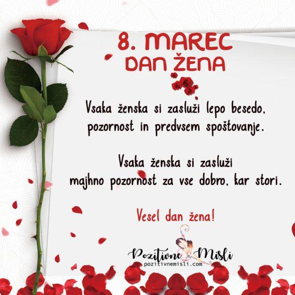 Vesel 8. marec - dan žena - voščilo za mednarodni dan žena