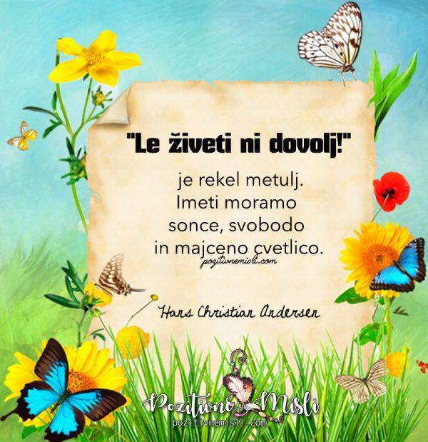 Le živeti ni dovolj - Hans Christian Andersen misli